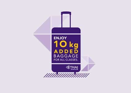 THAI Increases Extra 10 Kilogram for Checked Baggage Allowance