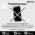 THAI Bans Samsung Galaxy Note 7 on All THAI Aircraft