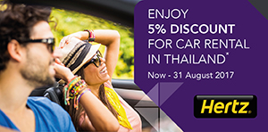 5% discount with Hertz in Thailand