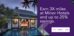 Earn 3X miles at Minor Hotels and up to 25% savings.