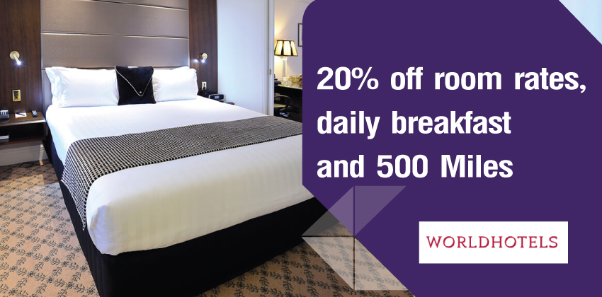 20% off room rates, daily breakfast and 500 Miles