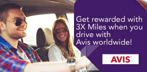 Get rewarded with 3X Miles when you drive with Avis worldwide!