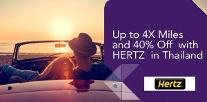 Up to 4X Miles and 40% Off with HERTZ in Thailand