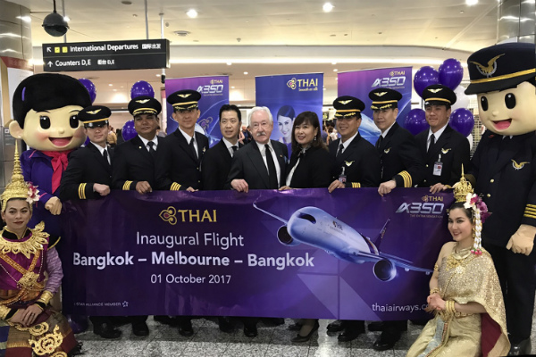 Opening ceremony for the A350 on the Melbourne to Bangkok route.