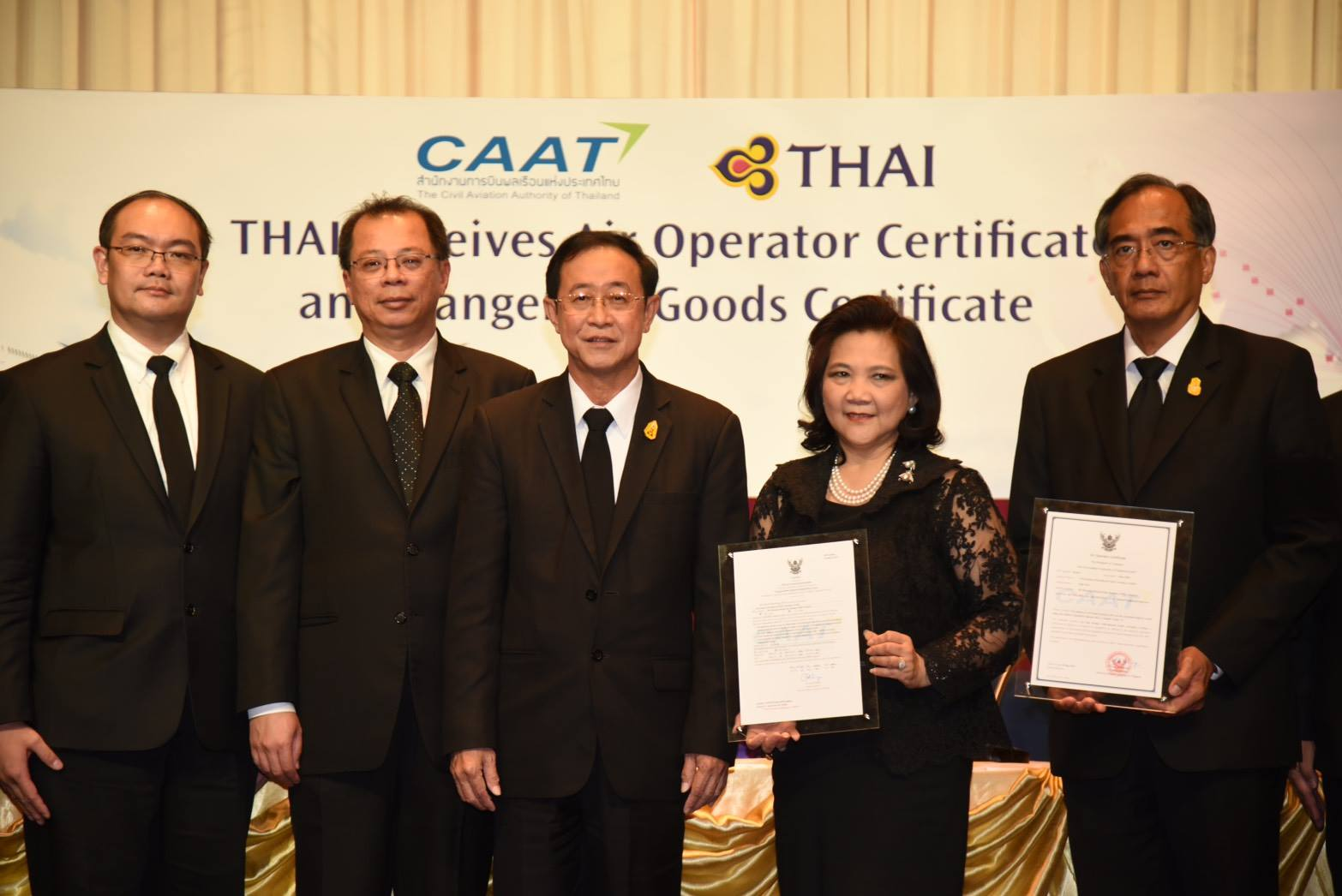 THAI Receives New Air Operator Certificate and Dangerous Goods Certificate