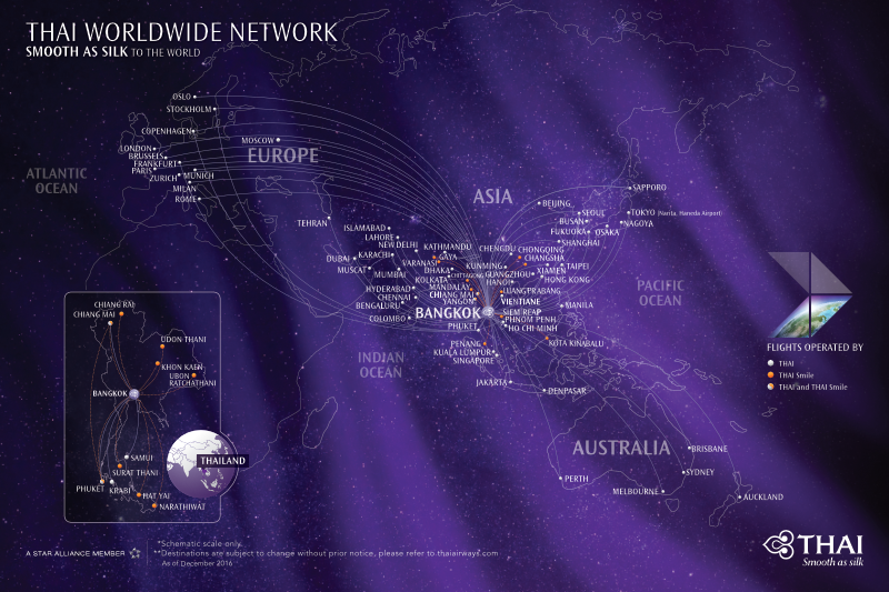 THAI Worldwide Network with THAI and Thai Smile operated flights