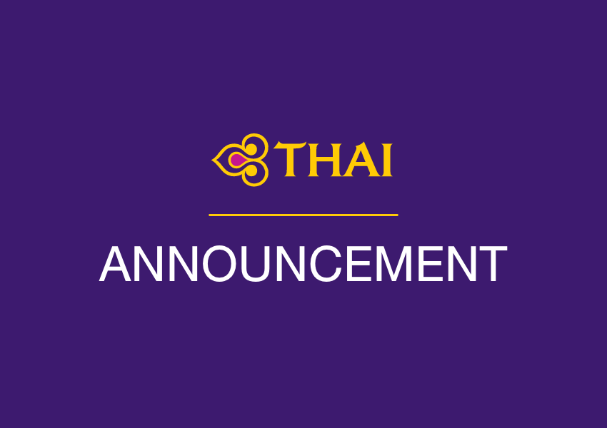 THAI Waives Flight Change Fees Due to Outbreak of Novel Coronavirus in People's Republic of China