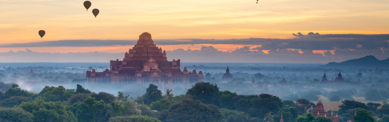 Bagan with Hot Air Baloons